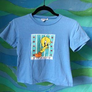 vintage tweety bird print baby blue crop top XS